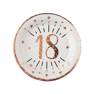 18th Birthday Rose Gold Paper Party Plates (x10)