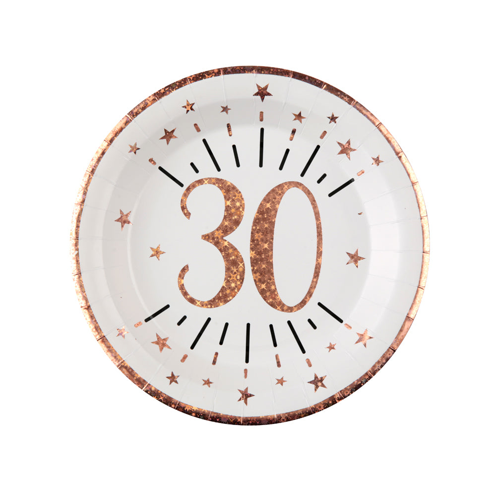 30th Birthday Rose Gold Paper Party Plates (x10)