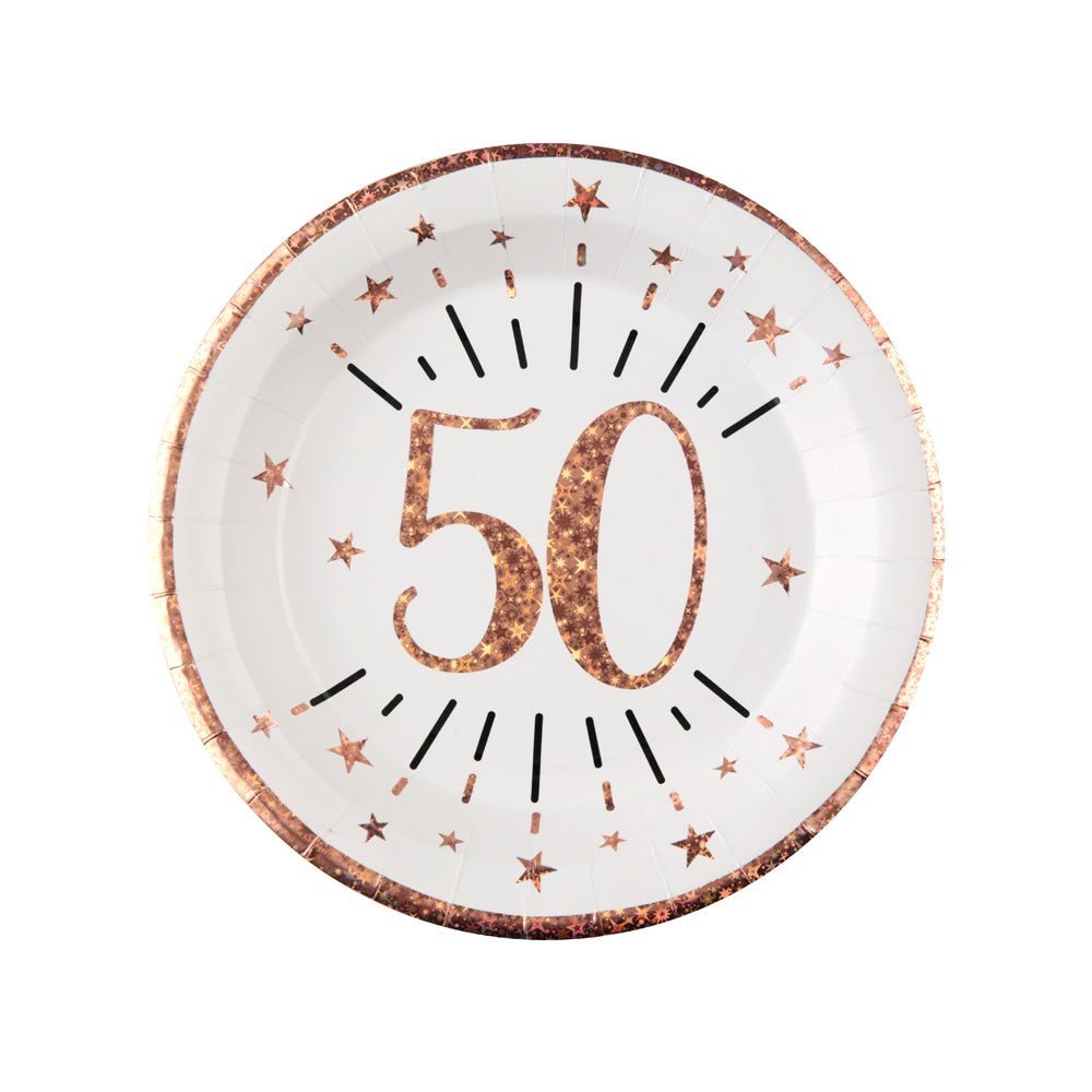 50th Birthday Rose Gold Paper Party Plates (x10)
