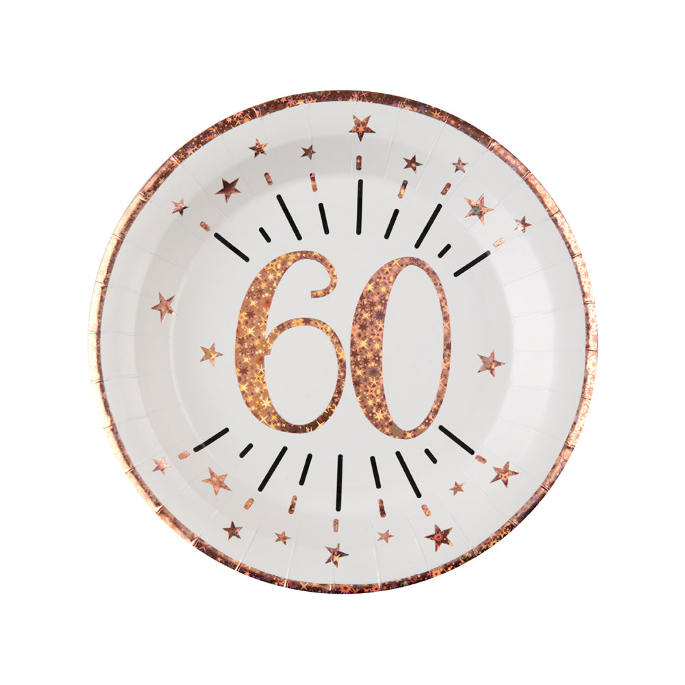 60th Birthday Rose Gold Paper Party Plates (x10)