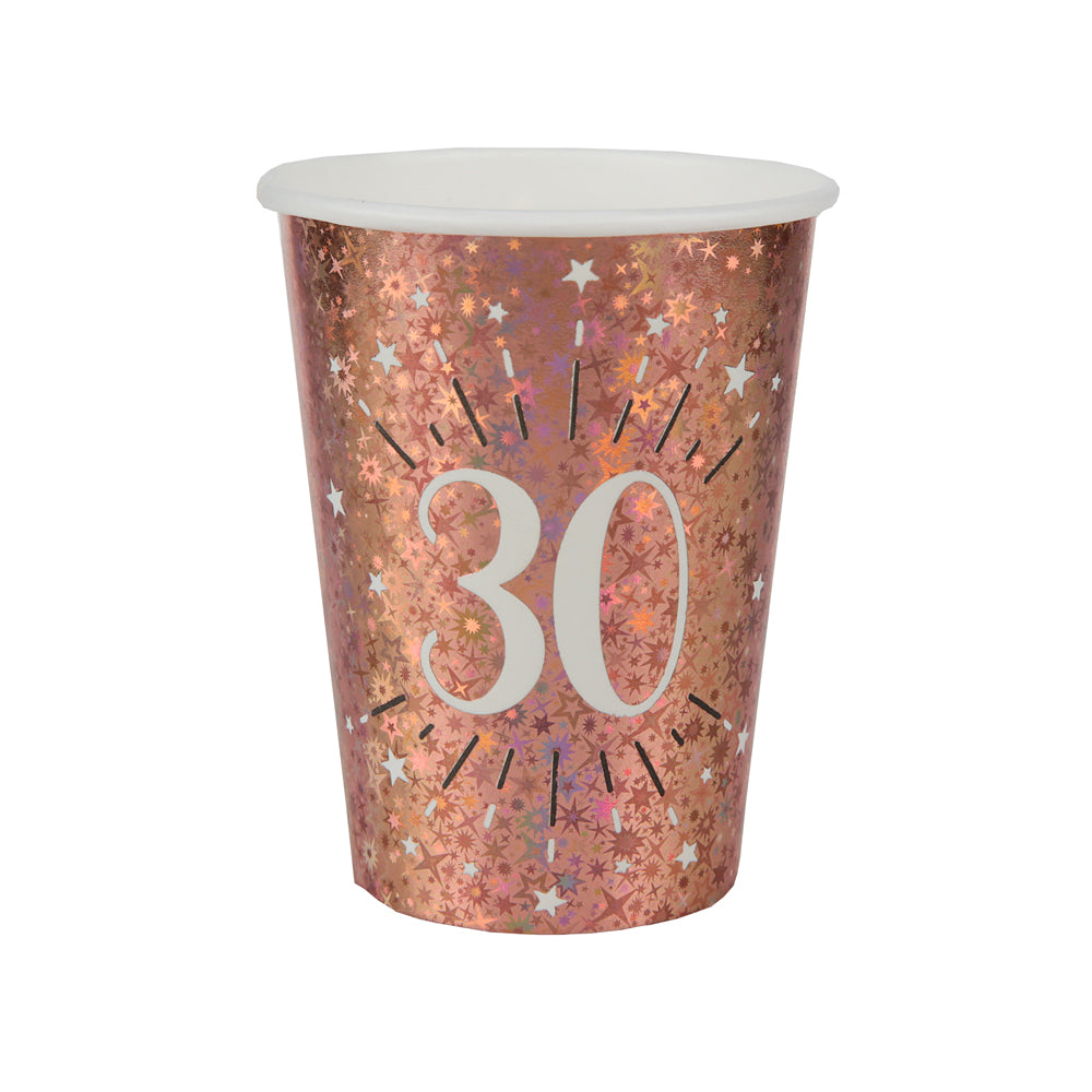 30th Birthday Rose Gold Paper Party Cups (x10)