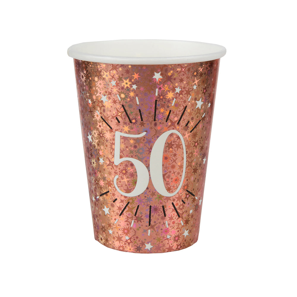 50th Birthday Rose Gold Paper Party Cups (x10)