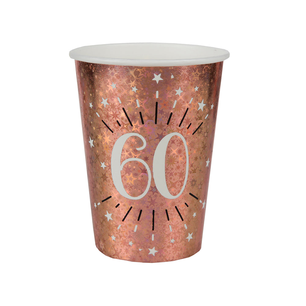 60th Birthday Rose Gold Paper Party Cups (x10)