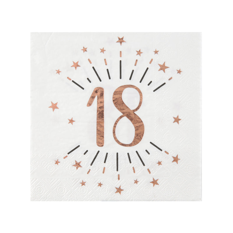 18th Birthday Rose Gold Paper Party Napkins (x10)