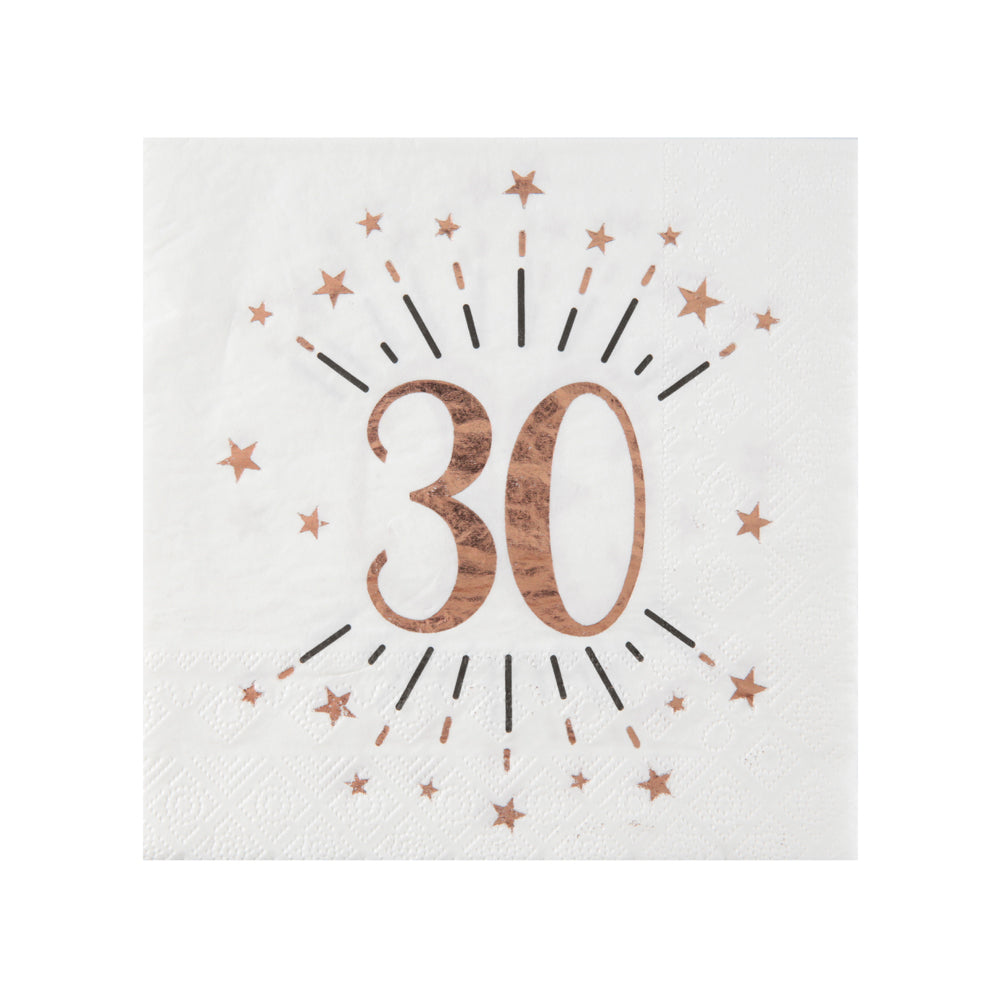 30th Birthday Rose Gold Paper Party Napkins (x10)