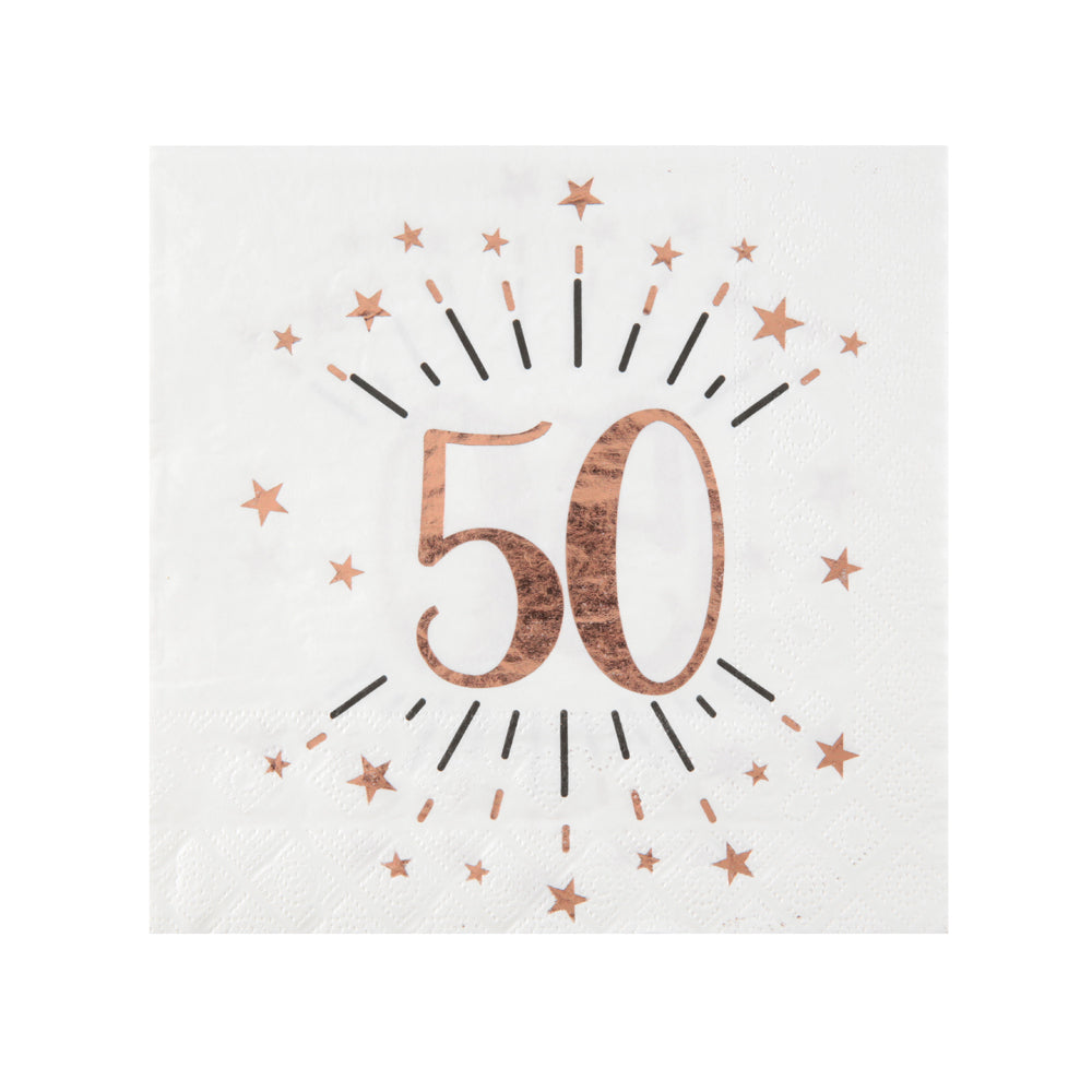 50th Birthday Rose Gold Paper Party Napkins (x10)
