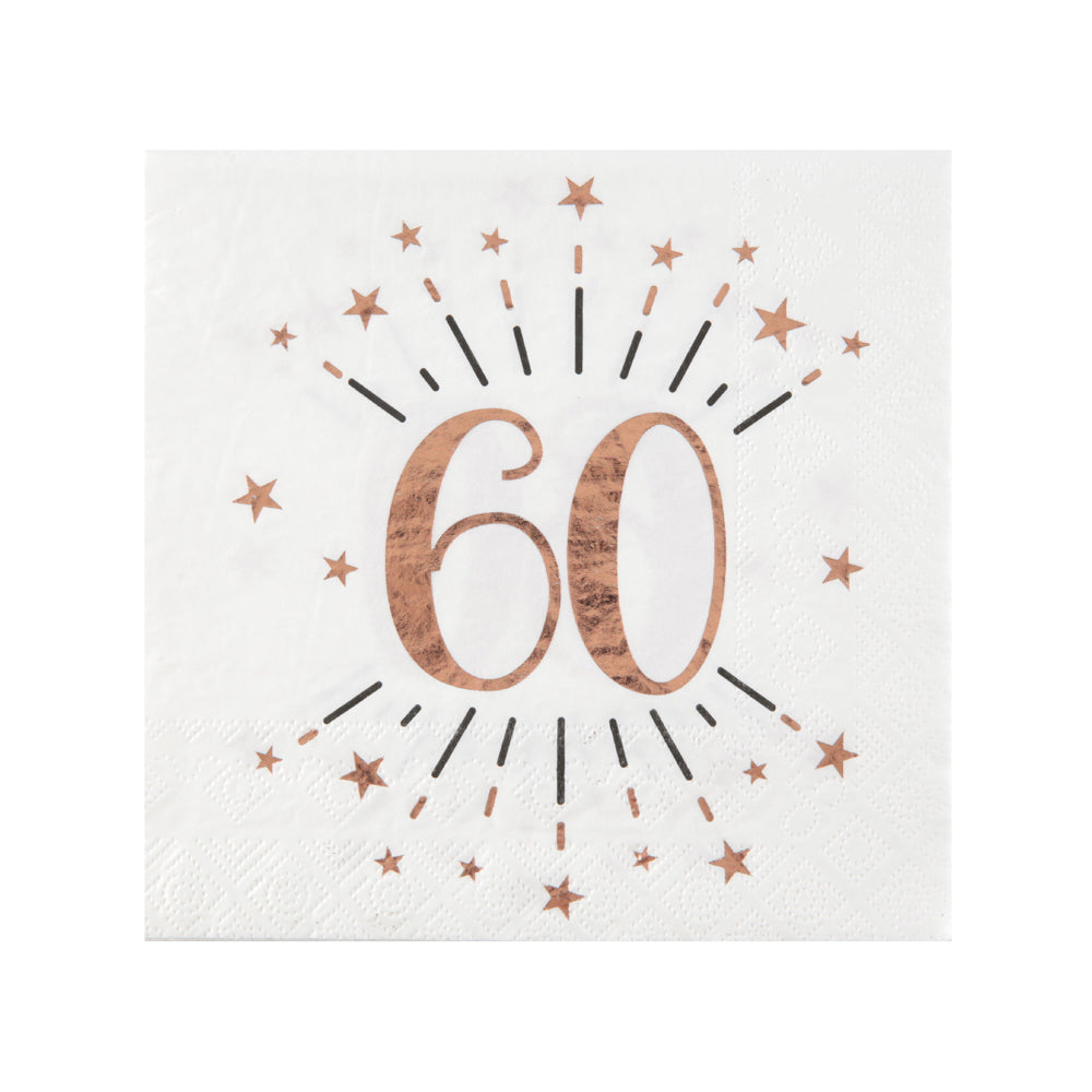 60th Birthday Rose Gold Paper Party Napkins (x10)