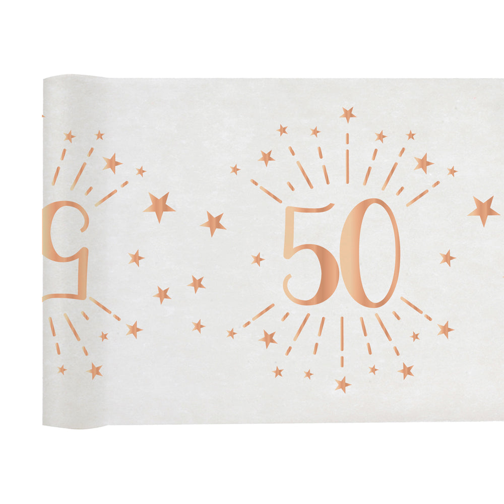 50th Birthday Rose Gold Party Table Runner (5m)