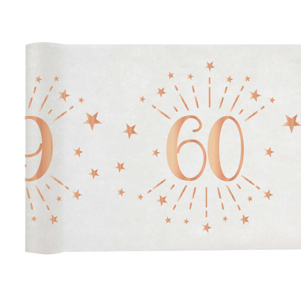 60th Birthday Rose Gold Party Table Runner (5m)