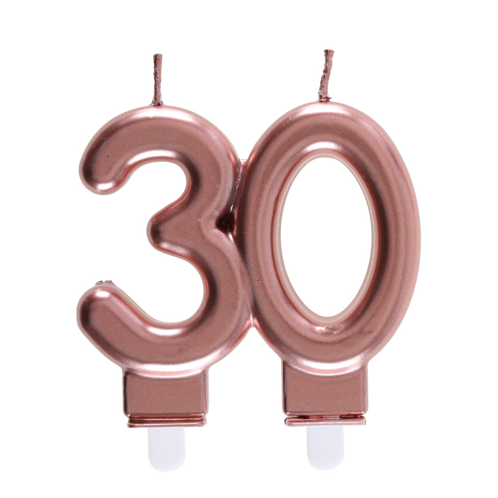 30th Birthday Rose Gold Candles