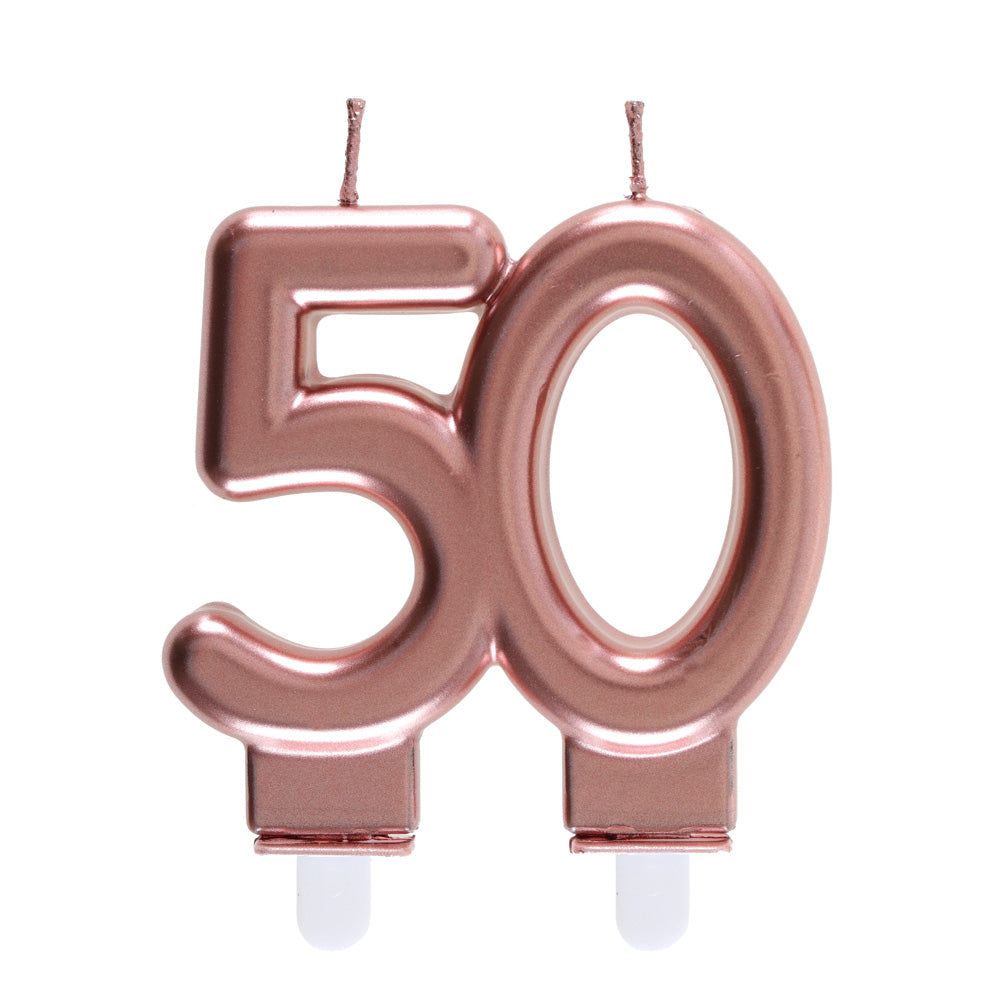 50th Birthday Rose Gold Candles