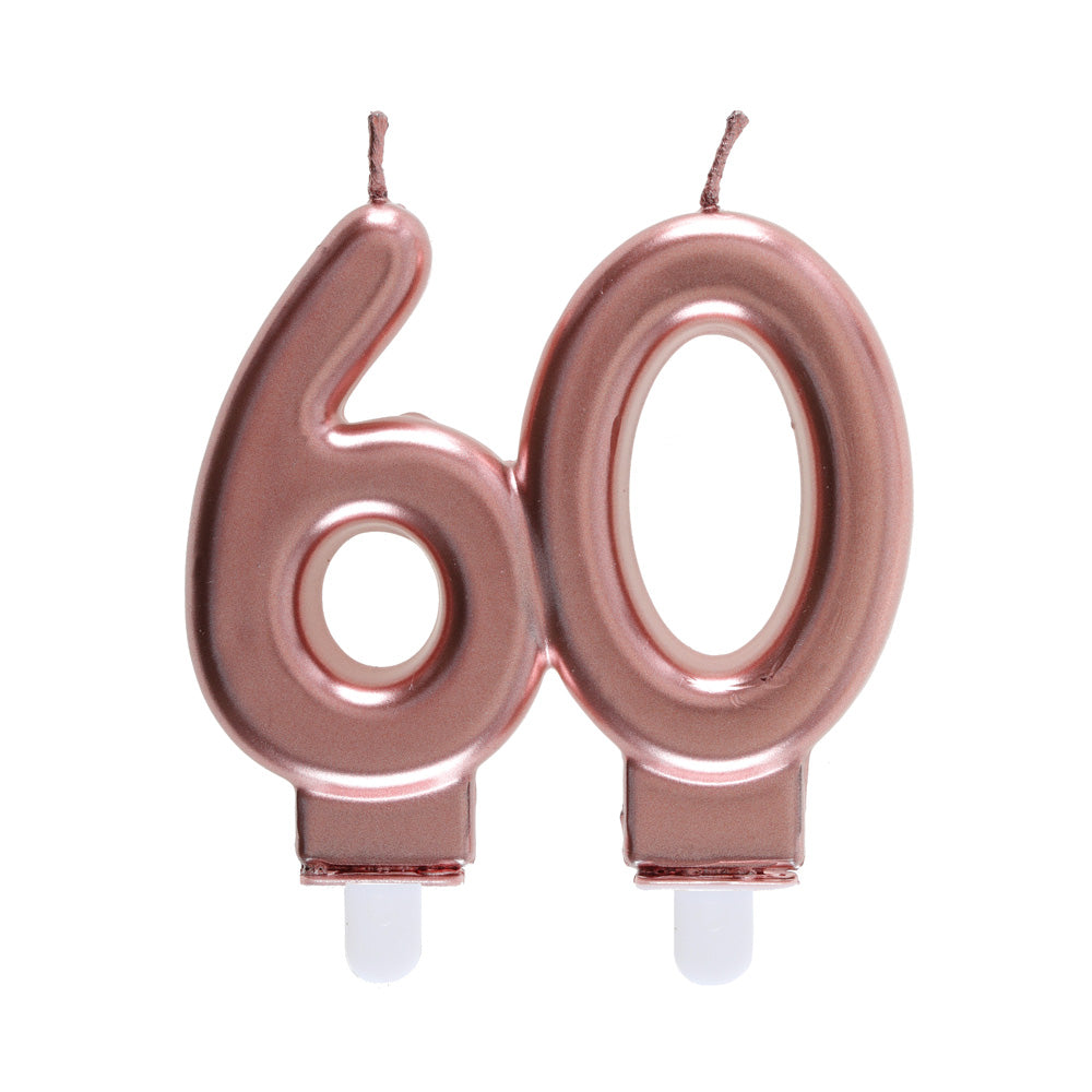 60th Birthday Rose Gold Candles