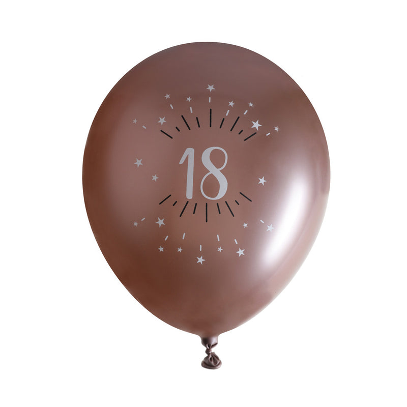 18th Birthday Rose Gold Latex Balloons (x6)