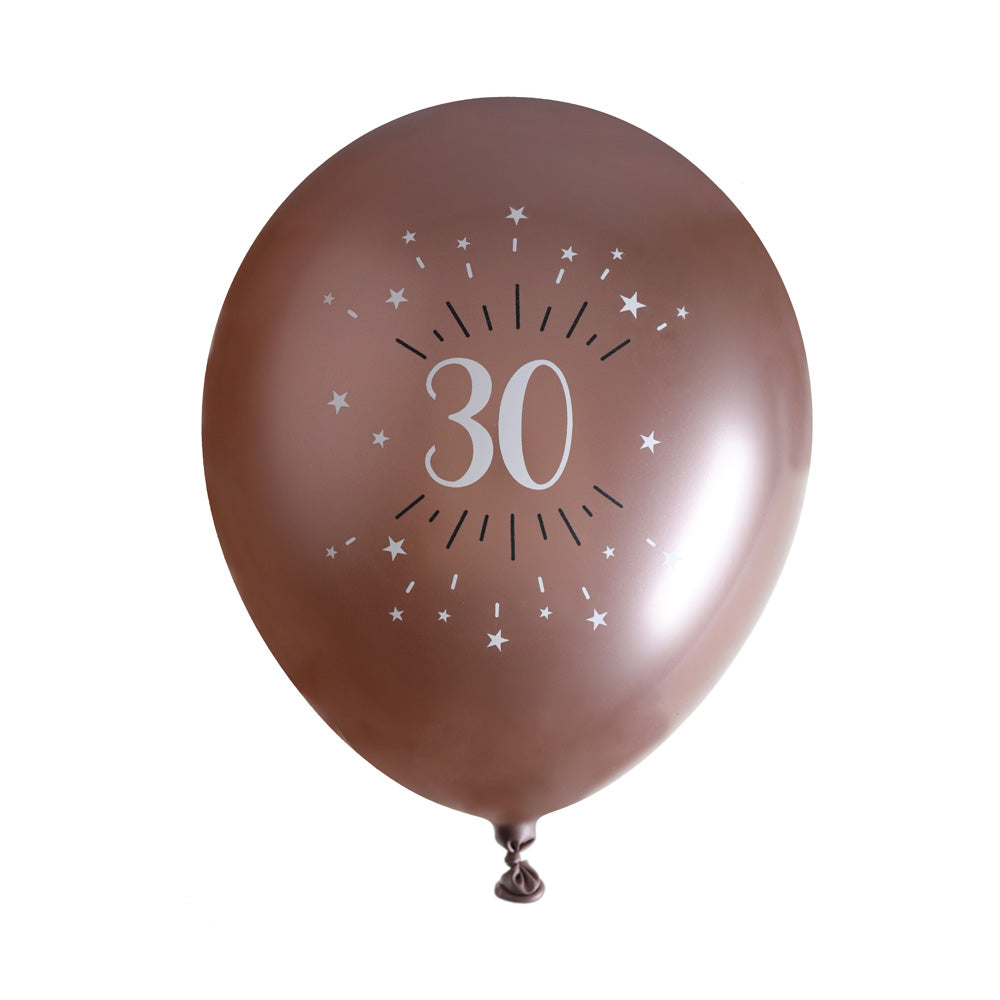 30th Birthday Rose Gold Latex Balloons (x6)