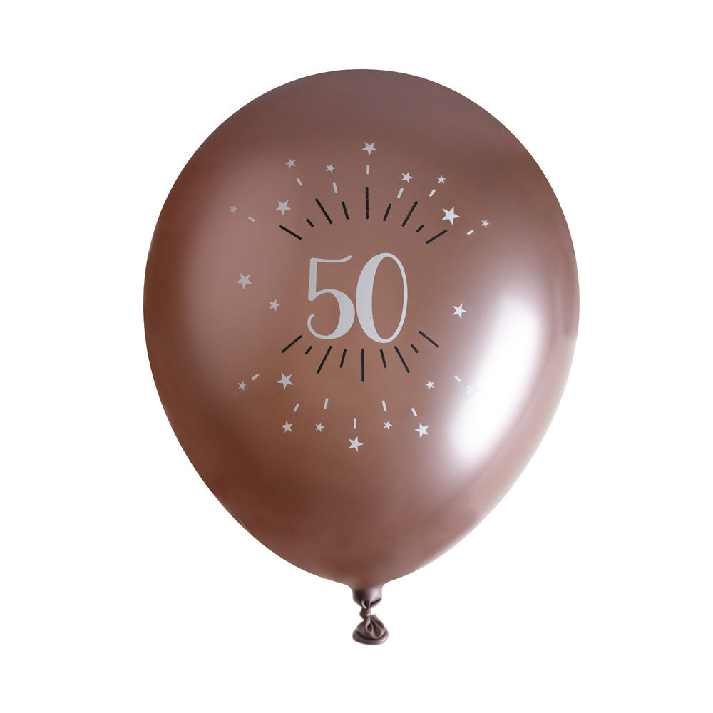 50th Birthday Rose Gold Latex Balloons (x6)