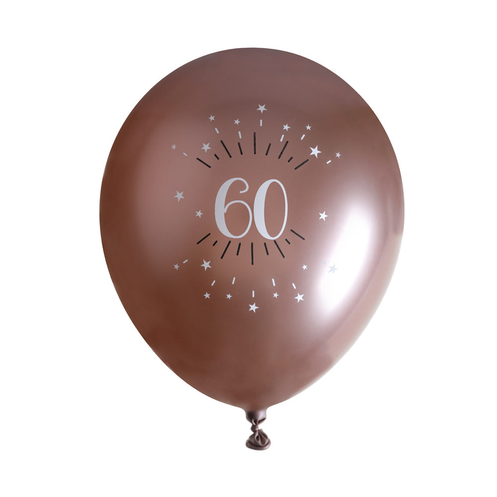 60th Birthday Rose Gold Latex Balloons (x6)