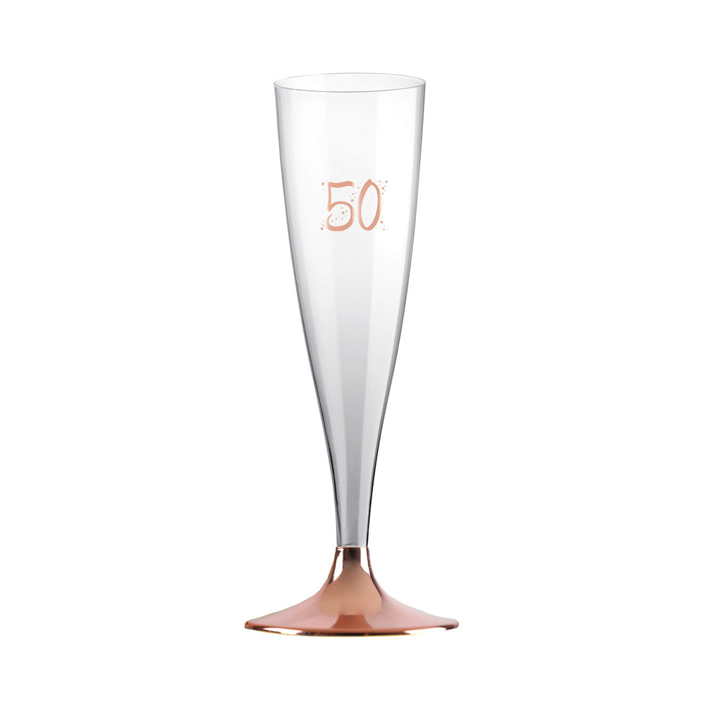 50th Birthday Rose Gold Flutes (x6)