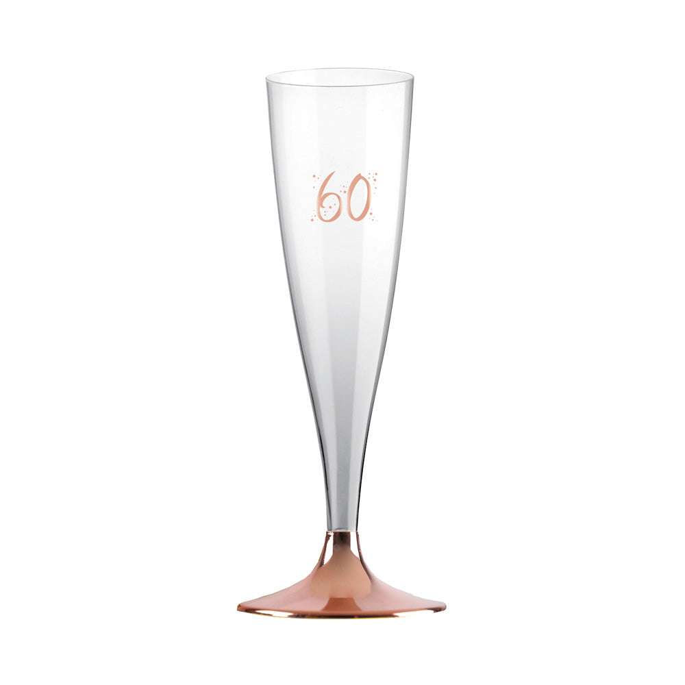 60th Birthday Rose Gold Flutes (x6)