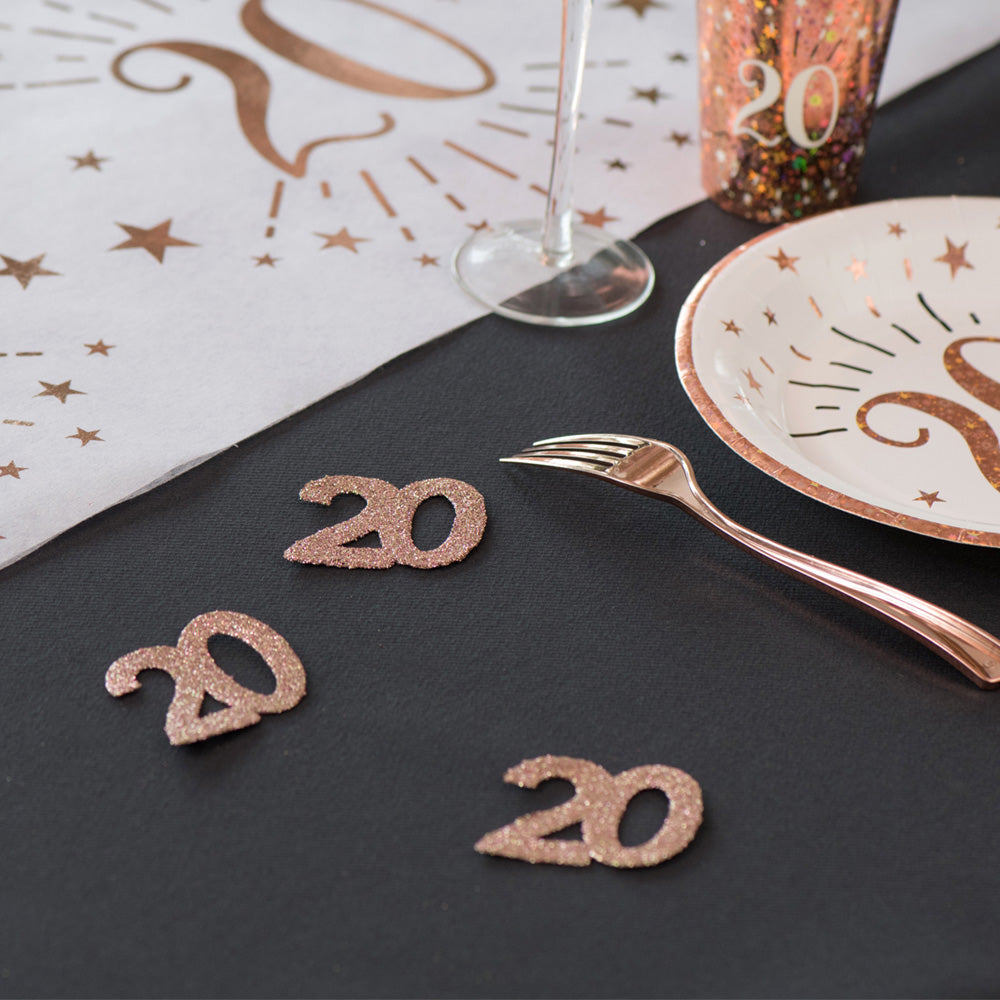 70th Birthday Rose Gold Table Confetti
