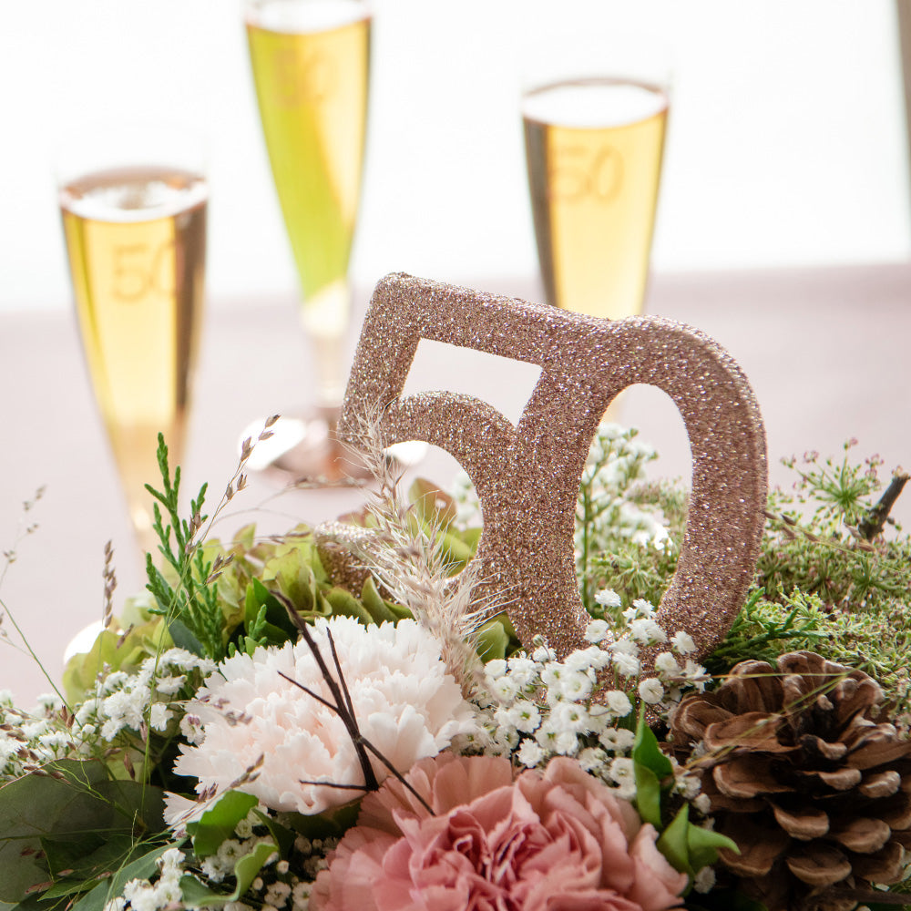50th Birthday Rose Gold Table Decoration