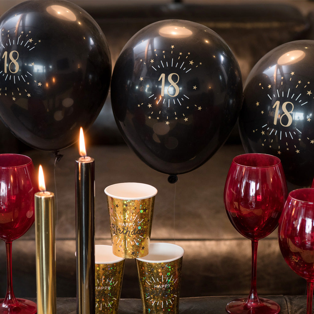 30th Birthday Black & Gold Sparkle Latex Balloons (x8)