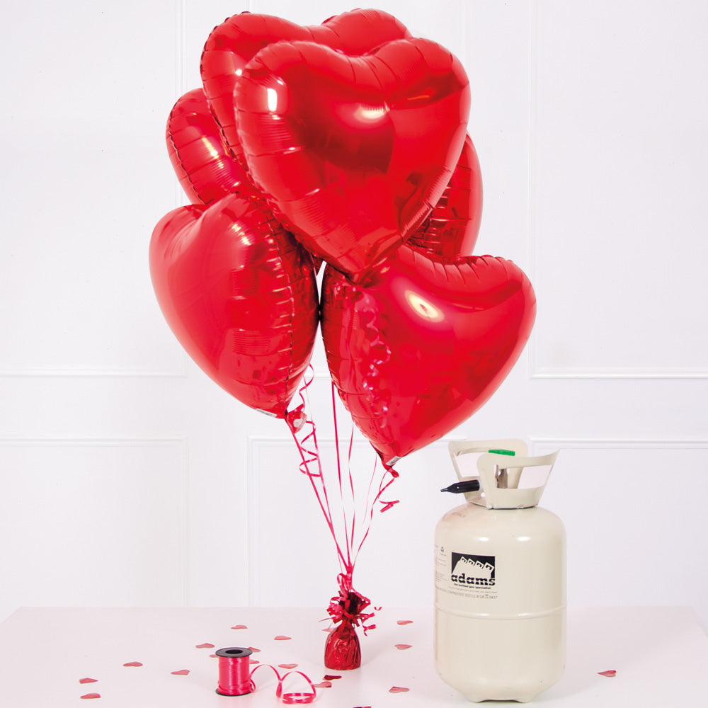 Red Heart Balloon Kit (Includes: Helium, Weight and Ribbon!)