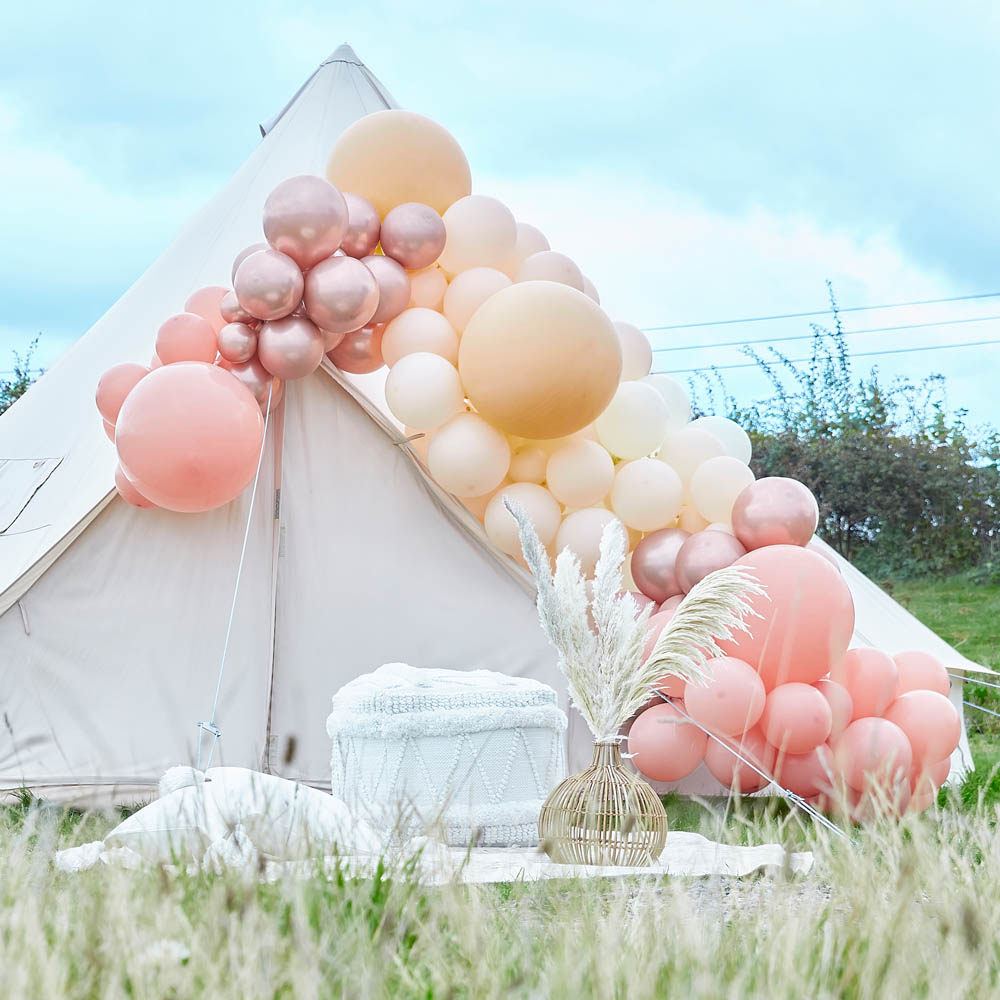Balloon Arch Large - Rose Gold Chrome & Nude
