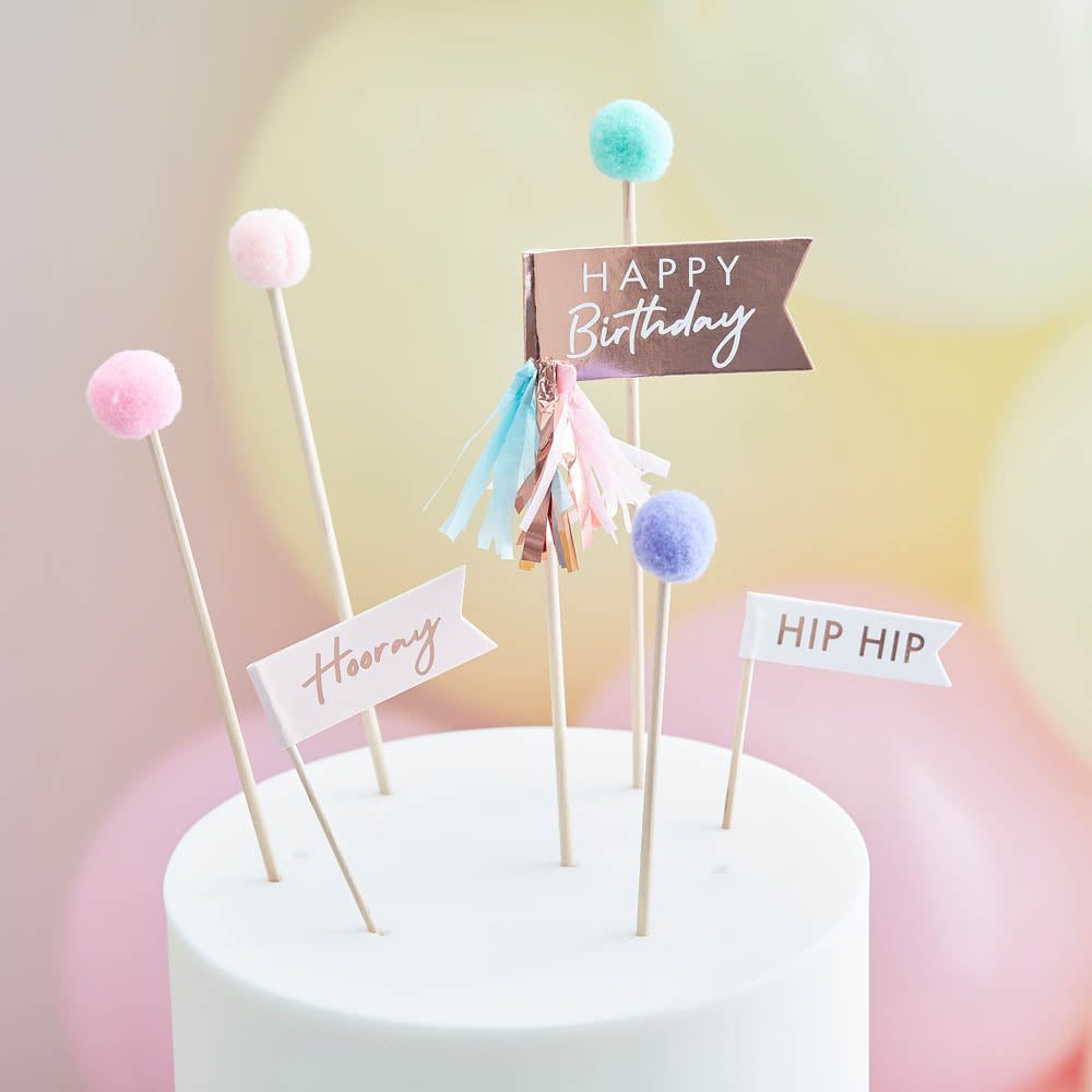 Happy Birthday Pom Poms and Flags Cake Topper