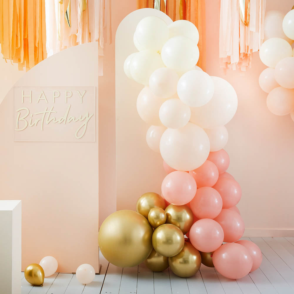 Balloon Arch - Peach and Gold