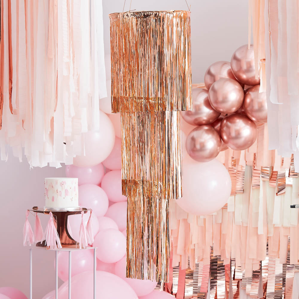 Streamer Hanging Chandelier - Rose Gold
