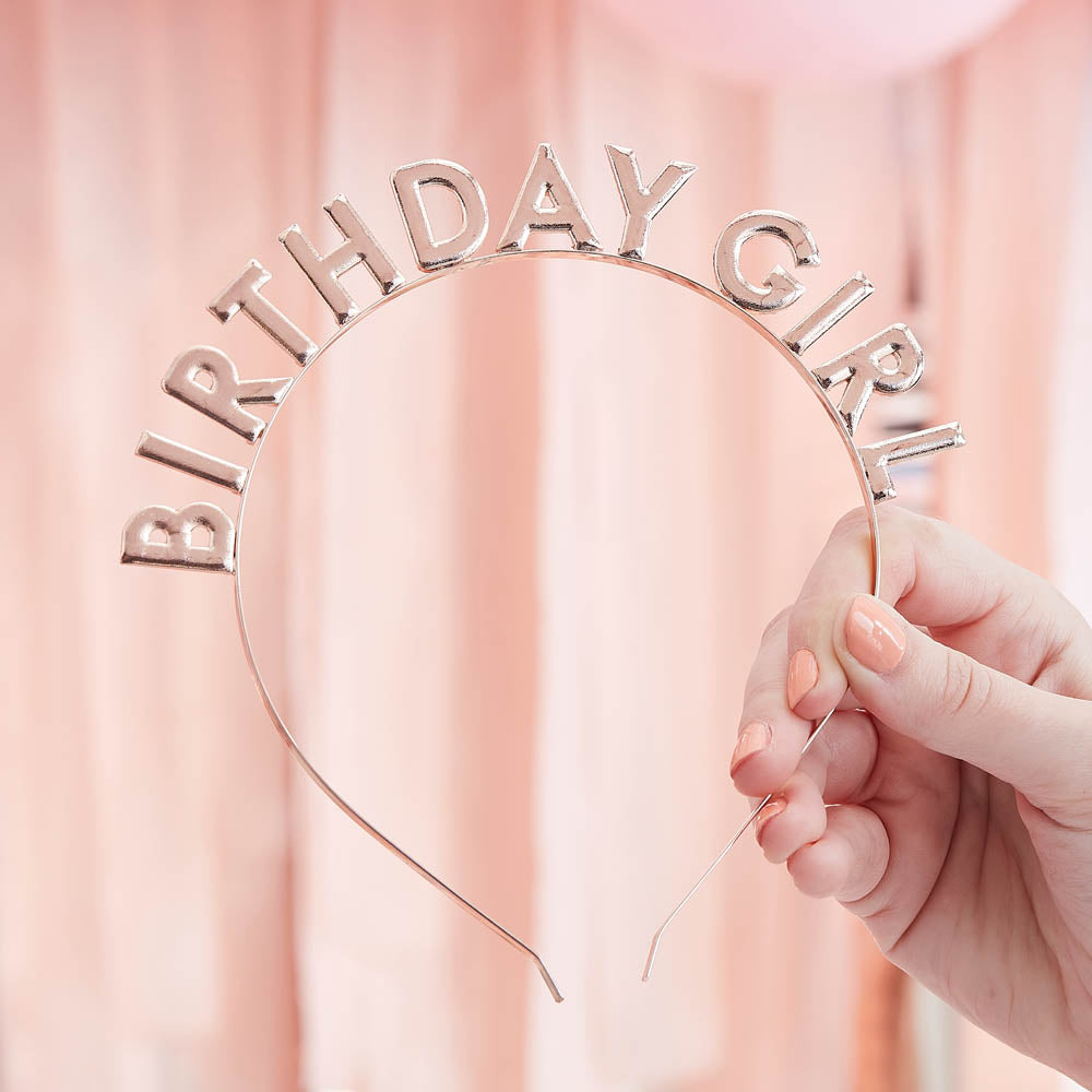 Metal Birthday Girl Headband - Rose Gold