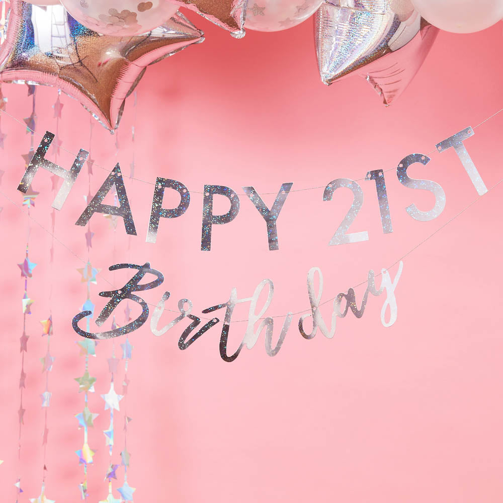Customisable Birthday Milestone Bunting - Iridescent