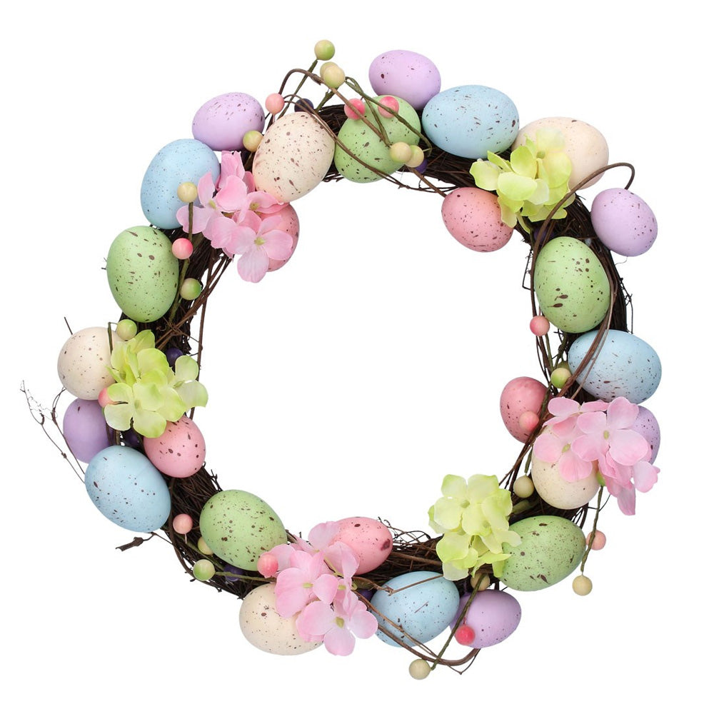 Pastel Egg Wreath with Flowers