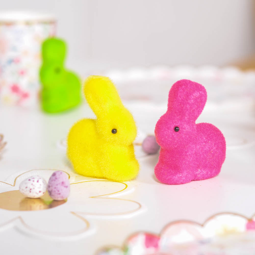 Mini Flocked Bunnies (x5)