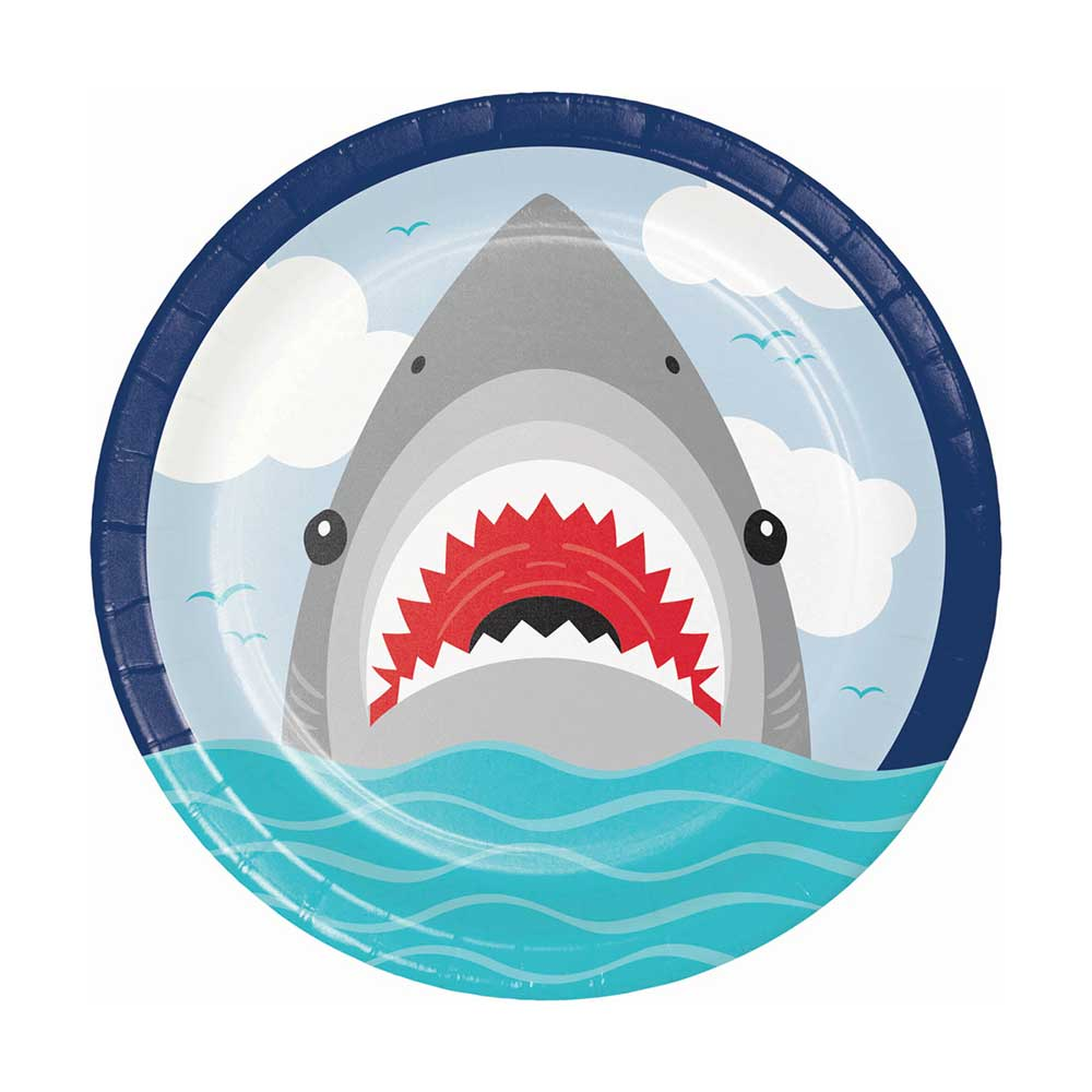 Shark Party Paper Plates Large (x8)