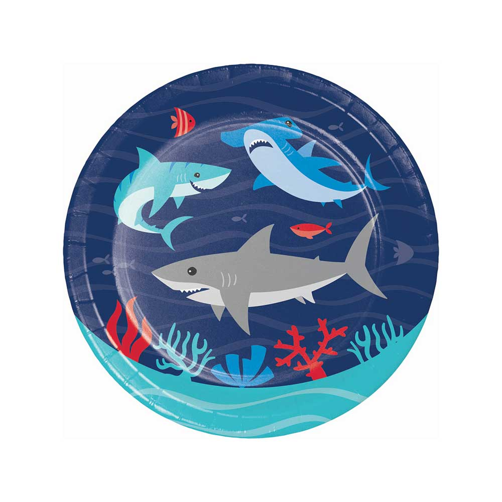 Shark Party Paper Plates Small (x8)