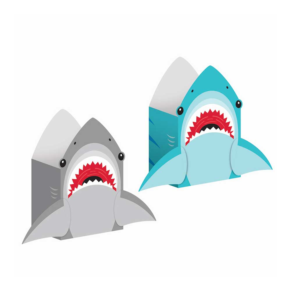 Shark Party Shaped Paper Treat Bags (x8)