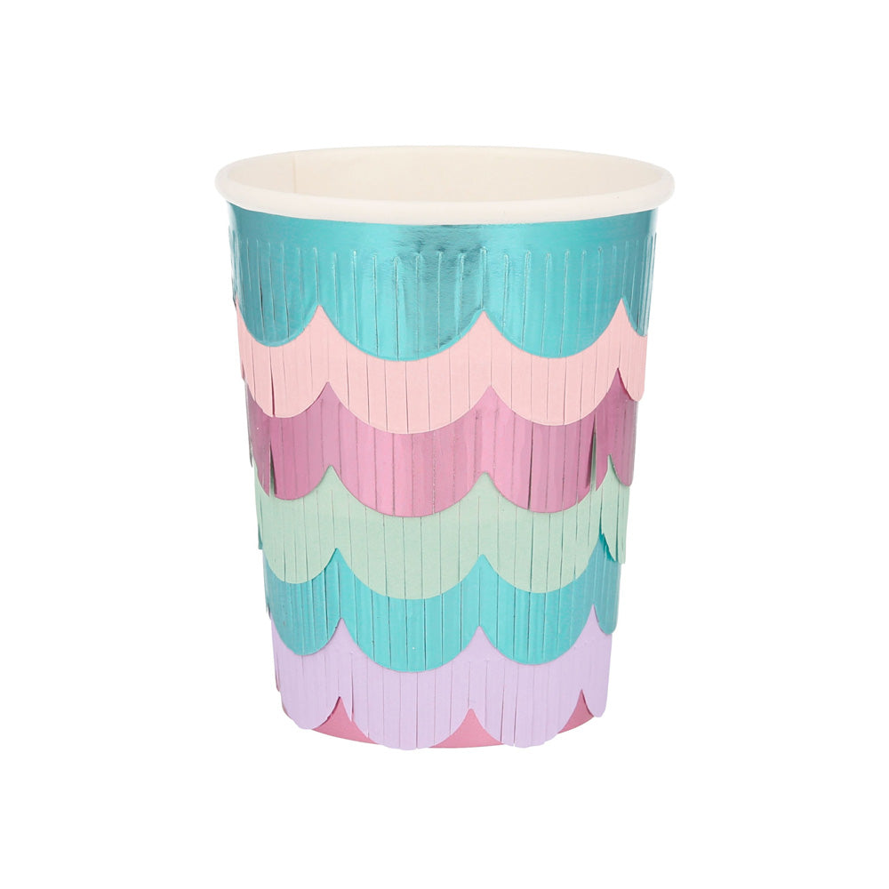 Mystical Mermaid Scalloped Fringe Paper Cups (x8)