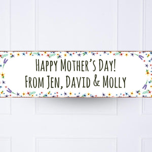 Rose Gold Fancy Floral Personalised Party Banner