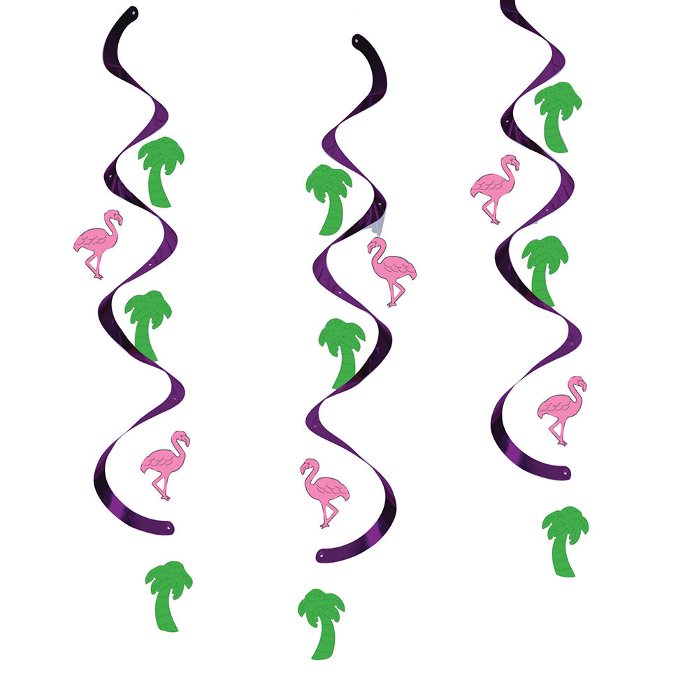 Flamingos and Palm Trees Swirl Decorations (x5)