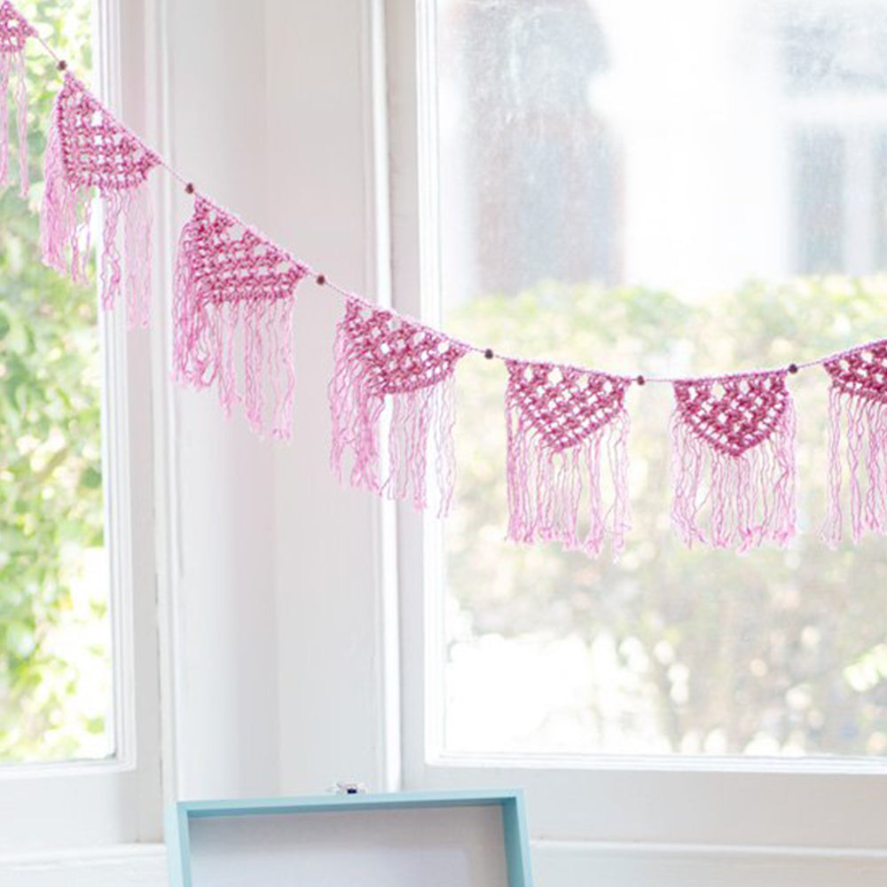Boho Pink Cotton Macrame Garland