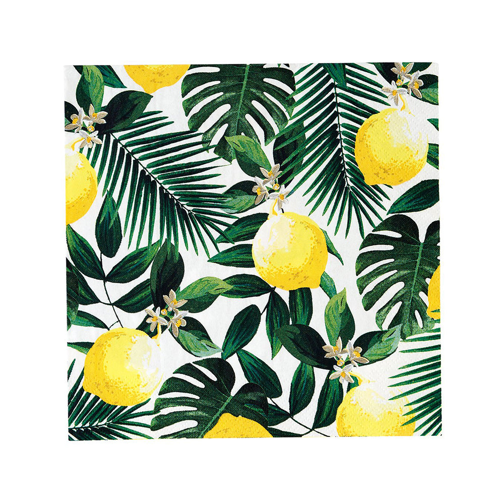Tropical Palm - Lemon Party Napkins (x20)