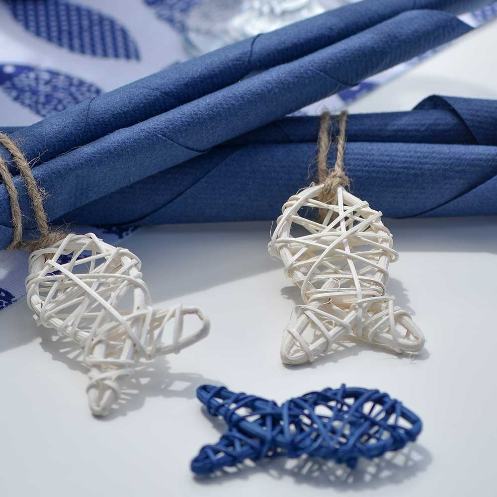 White Rattan Fish Decorations (x4)