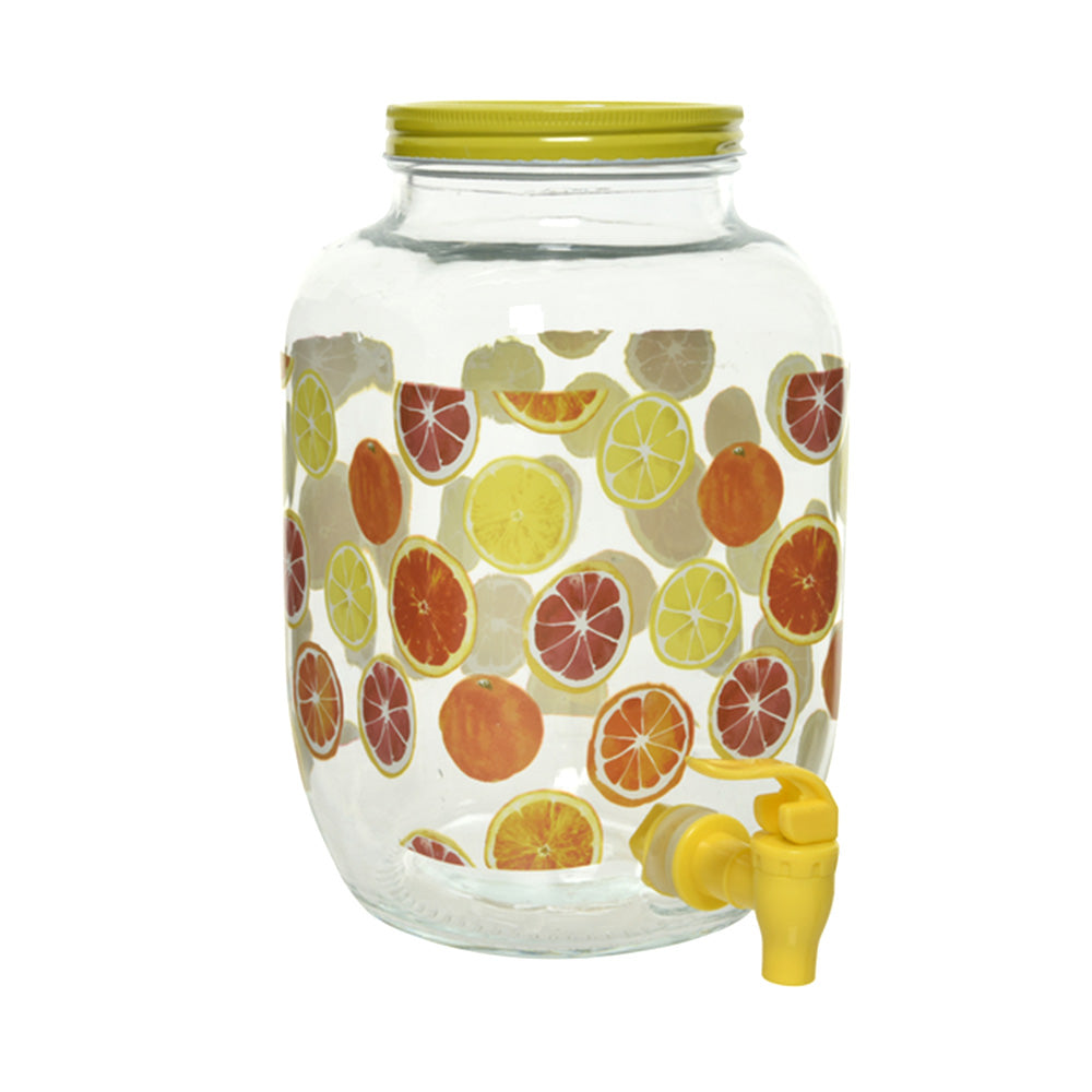 Glass Drinks Dispenser with Citrus Print (4L)