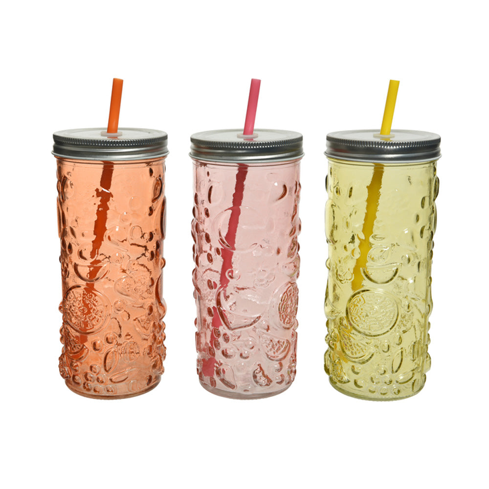 Citrus Drinkglass with Lid and Straw