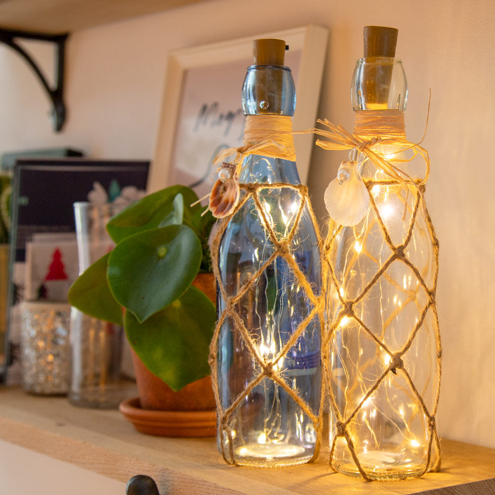 LED Glass Bottle Decoration - Sky Blue
