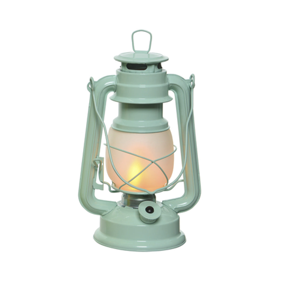LED Metal Lantern with Flame Effect - Blue