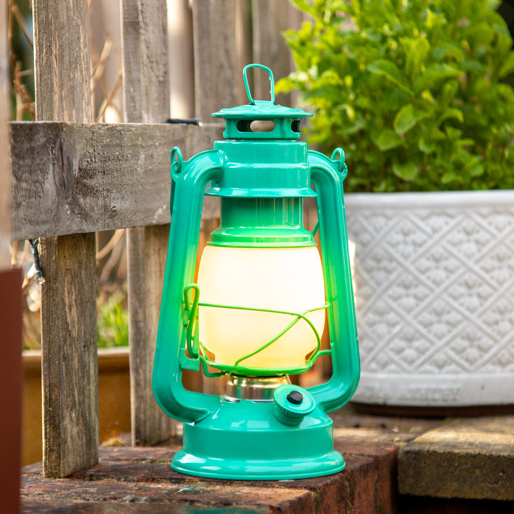 LED Metal Lantern with Flame Effect - Green