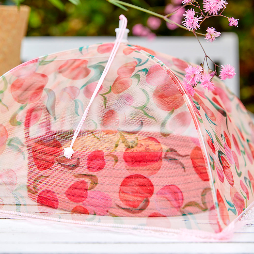 Mesh Foldable Food Cover with Peach Print