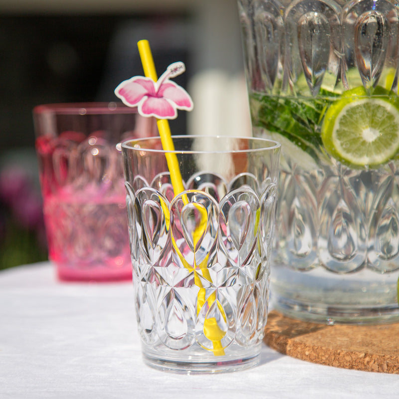 Acrylic Tumbler with Embossed Detail - Clear